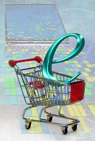 E-Commerce in a Shopping Cart. Stock Photo