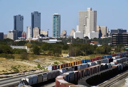 Train Yard Showing Fort Worth,Texas Skyline. Editorial