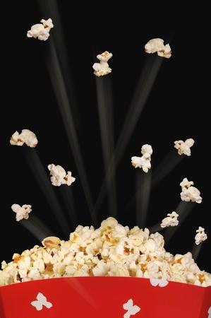 Popcorn flying high.