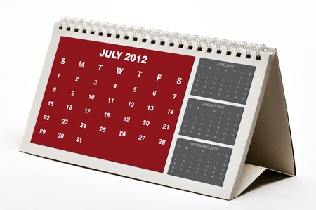 July 2012  Calendar Stock Photo - 11107247