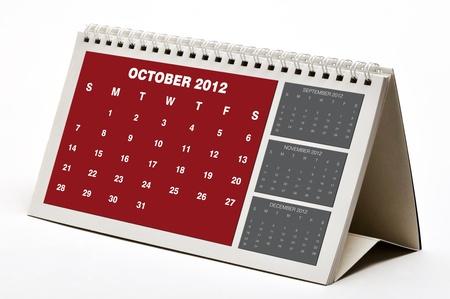 Ottobre 2012 Calendar Archivio Fotografico