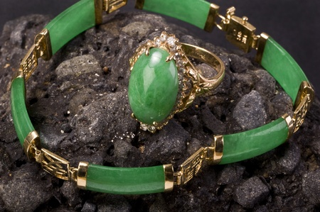 jewelry design: Green Burmese Imperal Jade Ring and Bangle. Stock Photo