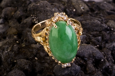 jade: Green Burmese Imperal Jade Ring . Stock Photo