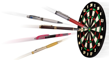 darts flying: Hit the Target.