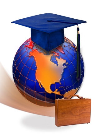 map case: Education ,Work and the World. Stock Photo