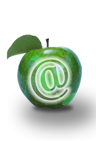 E-Commerce in a Green Apple. photo