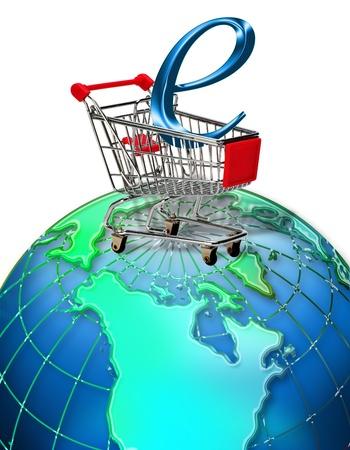 checkout line: E-Commerce Shopping the World.