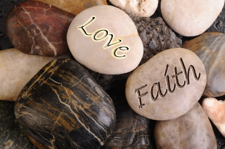 Love and Faith Stones. Stock Photo - 11835397
