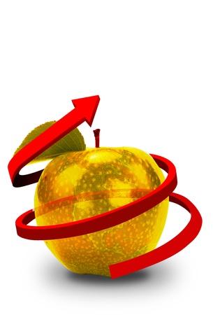golden apple: Golden Apple With Red Line Arrow.