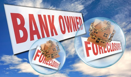 bank owned: Housing Bubble. Stock Photo