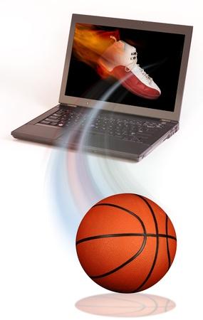basketball net: Basketball and your computer. Stock Photo