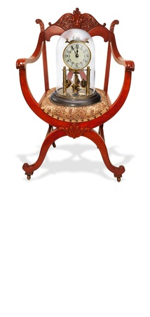Antique Mahogany American Chair With Clock  photo