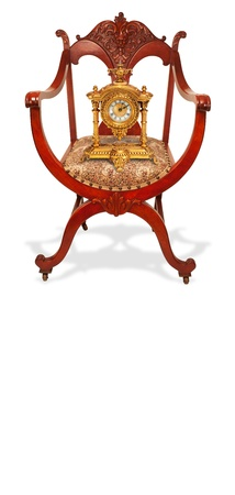 Antique Mahogany American Chair With Clock Stock Photo - 12441851