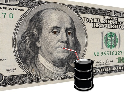 slurp: Dollars Drinking Oil  Stock Photo