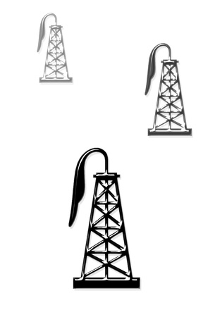 texas tea: Oil Well Derricks  Stock Photo