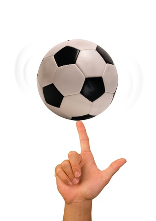 Soccer Ball on Finger  Archivio Fotografico