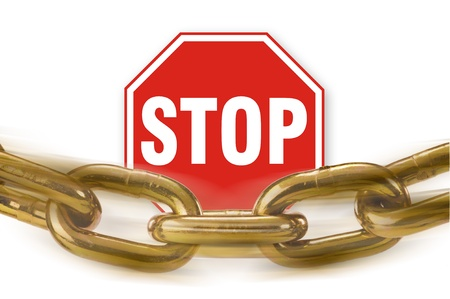 Stop Sign and Chain  Stock Photo - 12757595