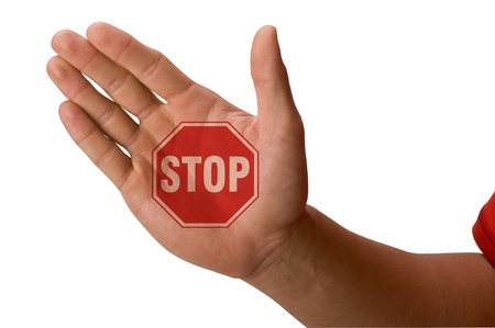 Stop Sign on hand n on Palm Stock Photo - 12757598