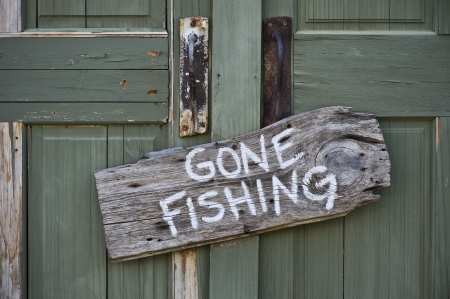 absent: Gone Fishing  Stock Photo