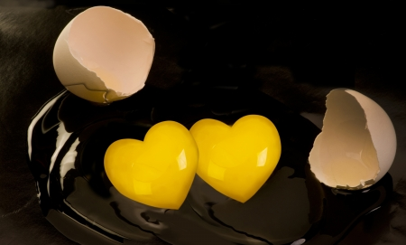 poach: Double Heart Yolk Egg. Stock Photo