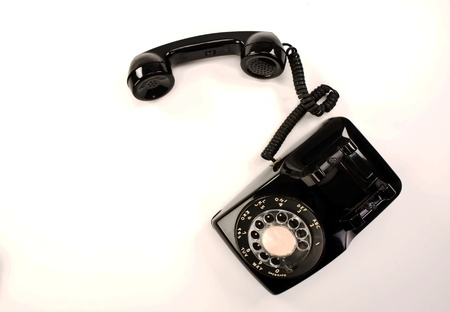 black appliances: Old Style Rotary Telephone.