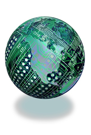Round circuit boards with North America in it   Imagens
