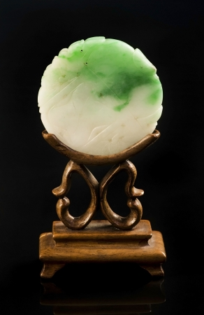 Chinese White and Green Jade Screen  Made around the early 1900 s  写真素材