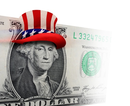 one hundred dollar bill: George Washington ready to party  Stock Photo