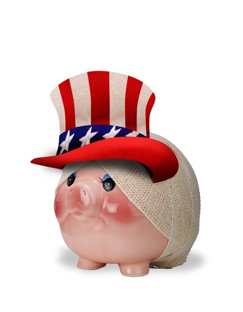 Injured Patriotic Piggy bank  photo