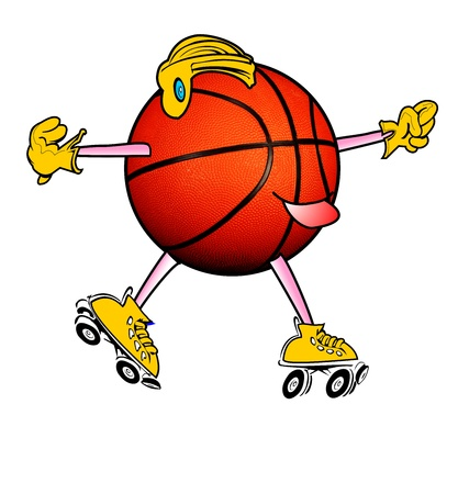 Roller Skating Basketball Man