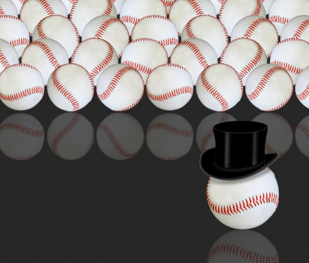 Baseball wearing black top hat  photo