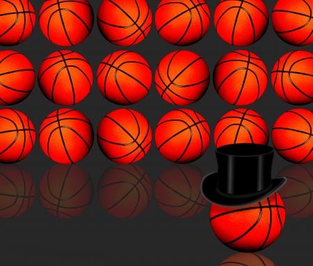 basketballs: Basketballs with black top hat  Stock Photo