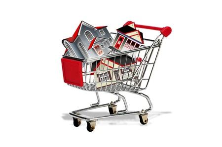 Shopping Cart Full of Homes  Stock Photo - 17358109