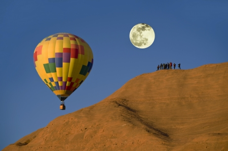 Hot Air Ballon With Full Moon  photo
