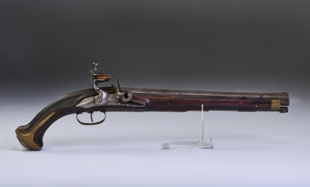 muzzleloader: French flintlock pistol made around 1800  Stock Photo