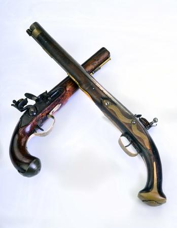 heirlooms: Francese e inglese pistola a pietra focaia fatto intorno al 1800