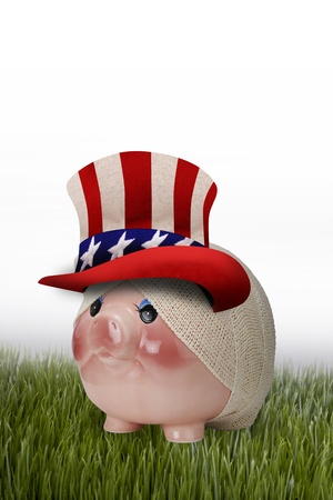 sam:   Injured Uncle Sam Piggy Bank