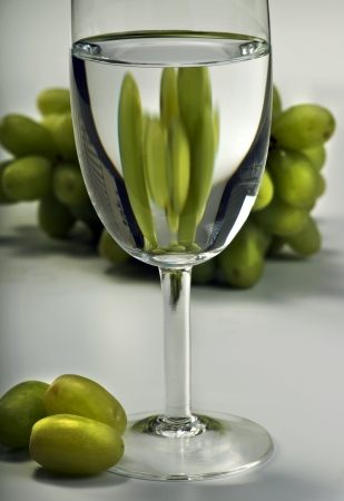 White wine and grapes.