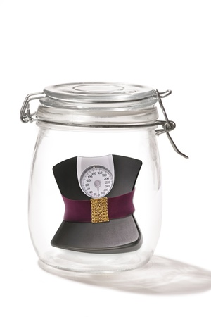 Weight Scales in a Jar  Stock Photo