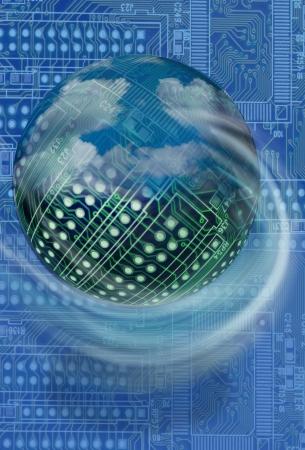 high tech: High tech circuit board ball  Stock Photo