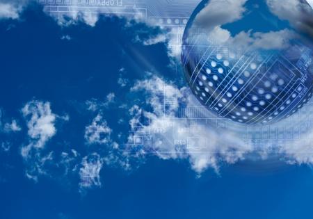 Cloud Computing sfondo ad alta tecnologia Archivio Fotografico