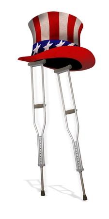 American Healthcare on Crutches Stock Photo - 22973543