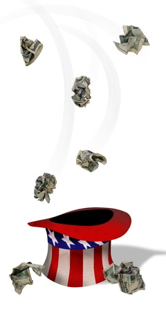 Money falling into Uncle Sam hat Stock Photo - 22973552