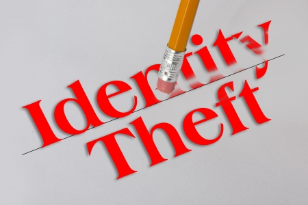 Identity theft concept with pencil eraser  Stock Photo