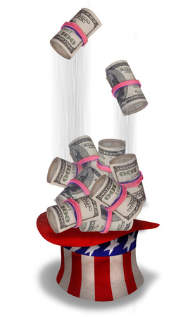 Rolls of cash falling into Uncle Sam hat  photo
