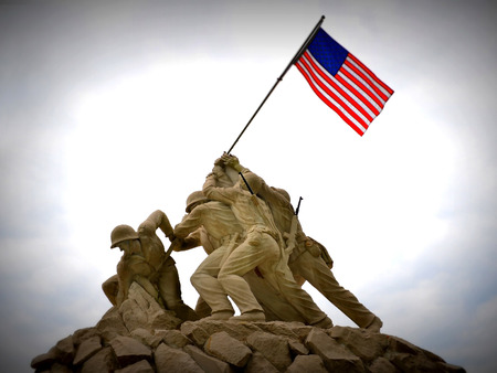 Sept  2013 - Replica of Iwo Jima statue at the entrance to Quantico Marine Corps Base, Quantico, VA