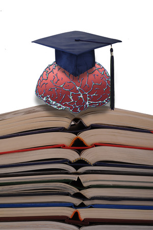 Stack of books with student brain on top  Stock Photo - 22973605