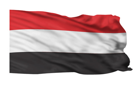 Flag of Yemen flying high Stock Photo - 23991027