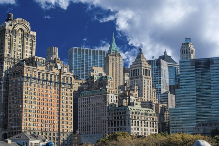 Skyline of lower Manhatten in New York City  Stock Photo - 23991041