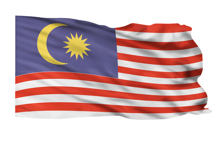 Malaysia flag flying high in the air Stock Photo - 23991042